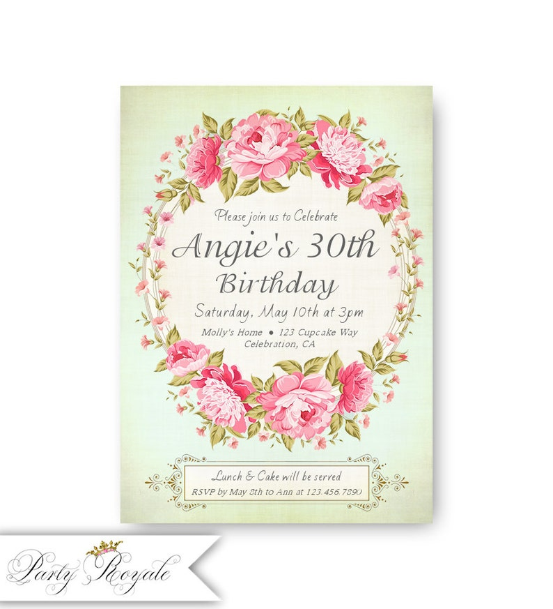 Mint 30th Birthday Invitations For A Woman 30 Years Old