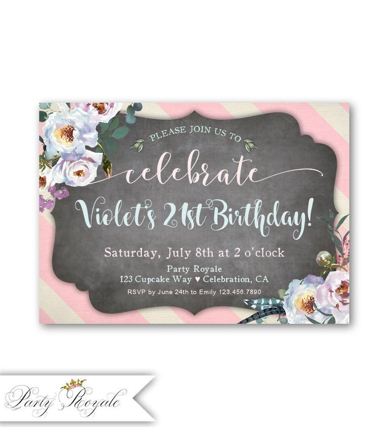 21st Birthday Invite Printable Adult Invitation