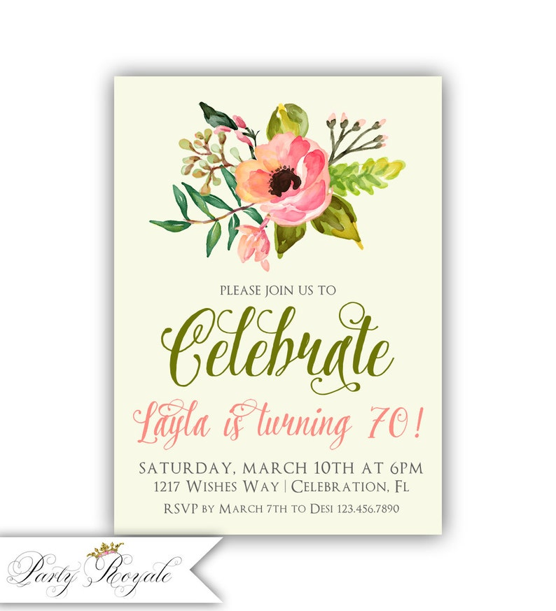 70th Birthday Invitation Ladies Floral