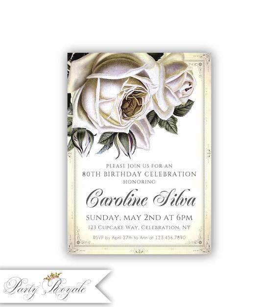 Vintage Rose 80th Birthday Invitations Women S Birthday Etsy