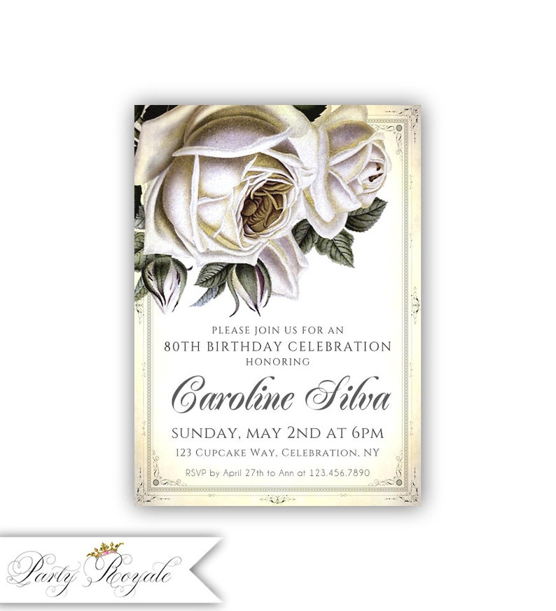 Vintage Rose 80th Birthday Invitations Womens