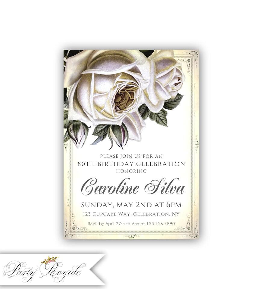 Vintage Rose 80th Birthday Invitations / Women's Birthday | Etsy