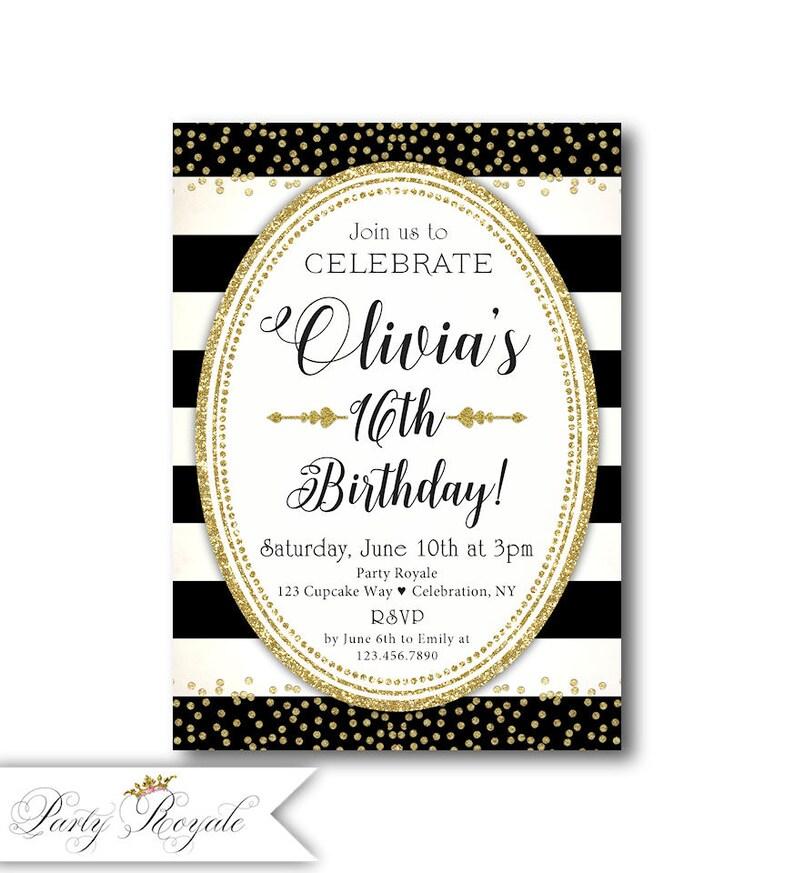 16th Birthday Invitations Black White And Gold