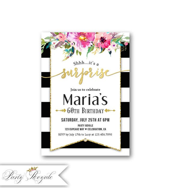 surprise party invitations women s 60th birthday surprise etsy