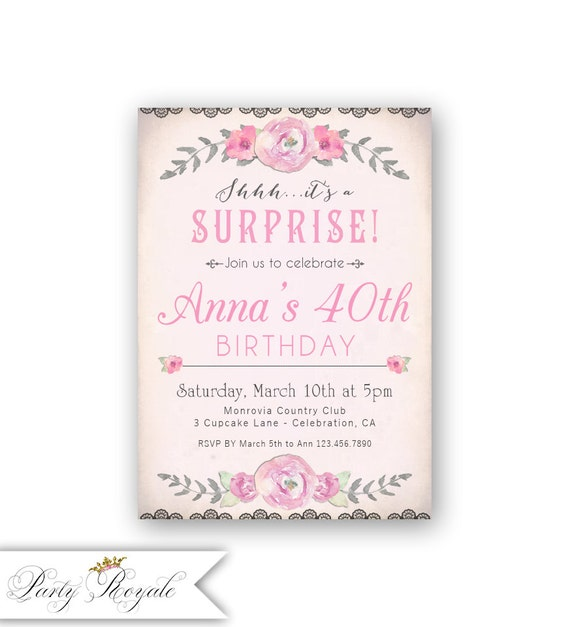 Pink Surprise Birthday Party Invitations Women Adults 40th Birthday Invitation 50th 60th 70th Birthday Invites Surprise Invite