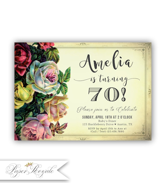 70th Birthday Invitations Party Invitation For