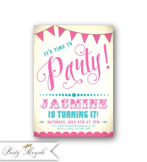 Teenage Birthday Party Invitations 17th Birthday Girl Pink Etsy