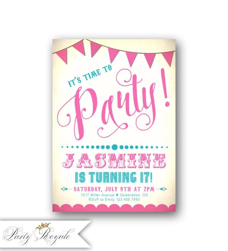 Teenager Geburtstag Party Einladungen 17 Geburtstag Mädchen Etsy