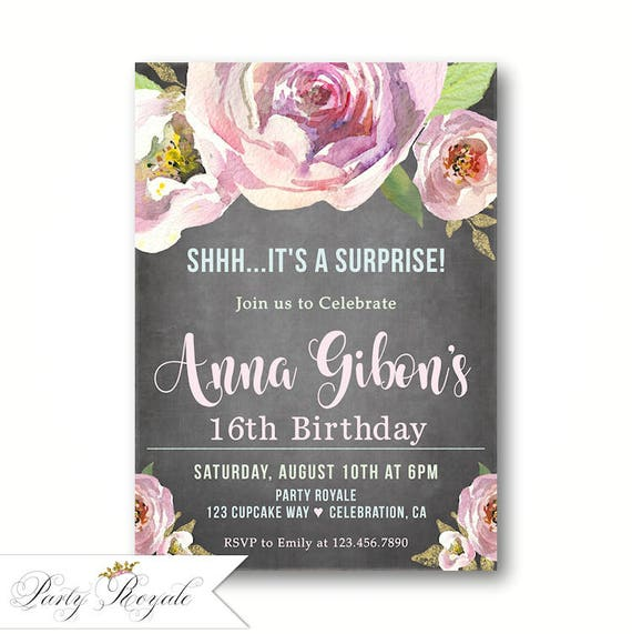 Surprise 16th Birthday Invitations Party Invites For