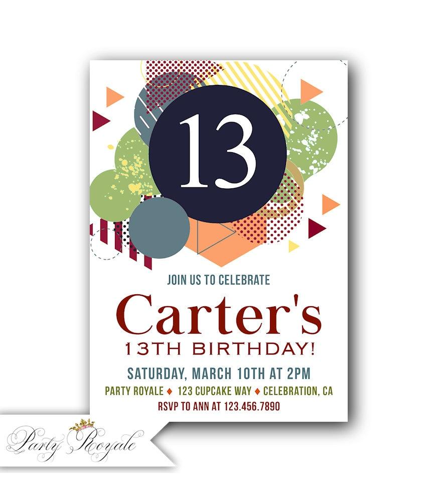 Boys 13th Birthday Invitations 13th Birthday Invites boy | Etsy
