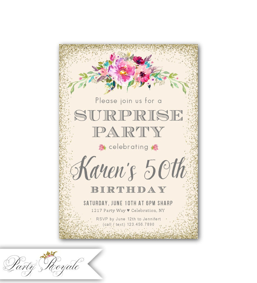 Surprise Birthday Party Invitations Women\'s 50th | Etsy
