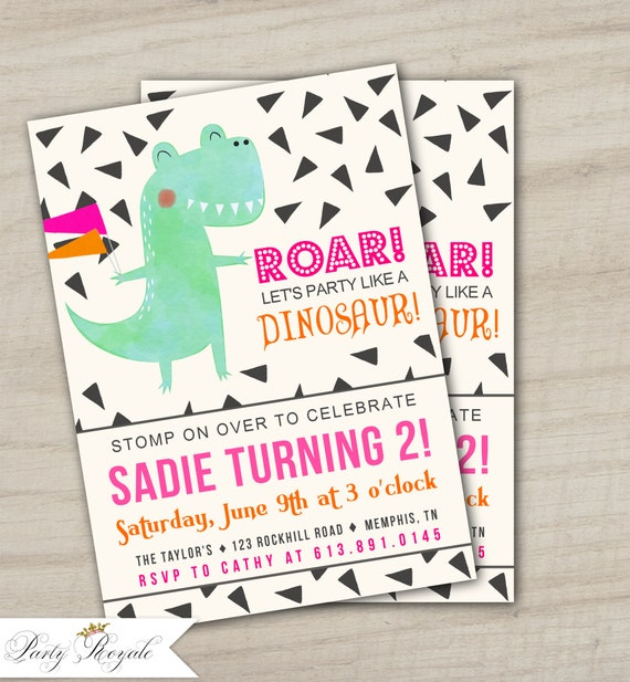 Girls Dinosaur Birthday Invitations Themed