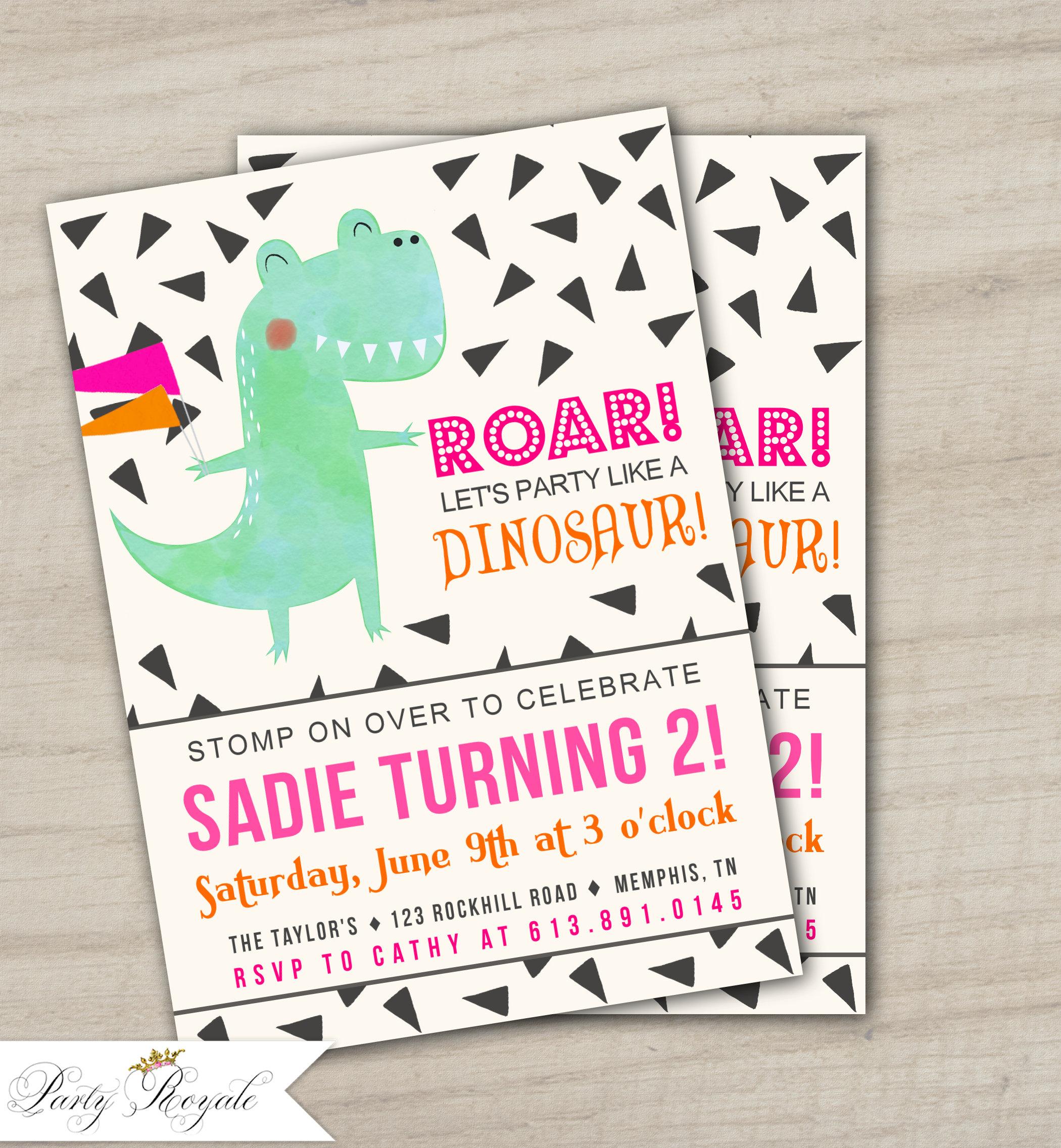 Girls Dinosaur Birthday Invitations Dinosaur Themed Birthday | Etsy
