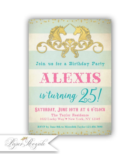Adult Birthday Invitations For Her 25th Invitation