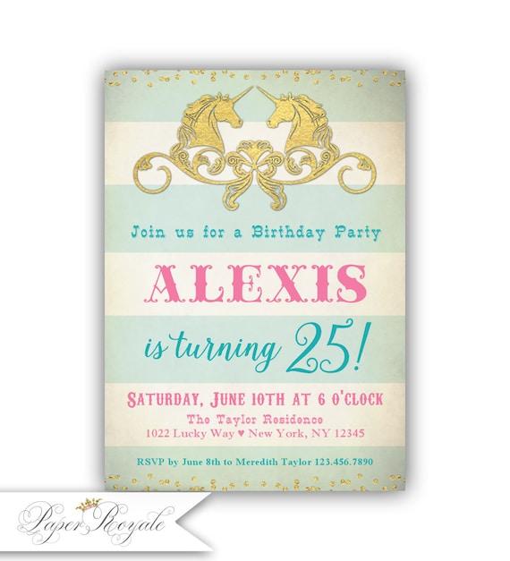 Adult Birthday Invitations For Her 25th Birthday Invitation Etsy