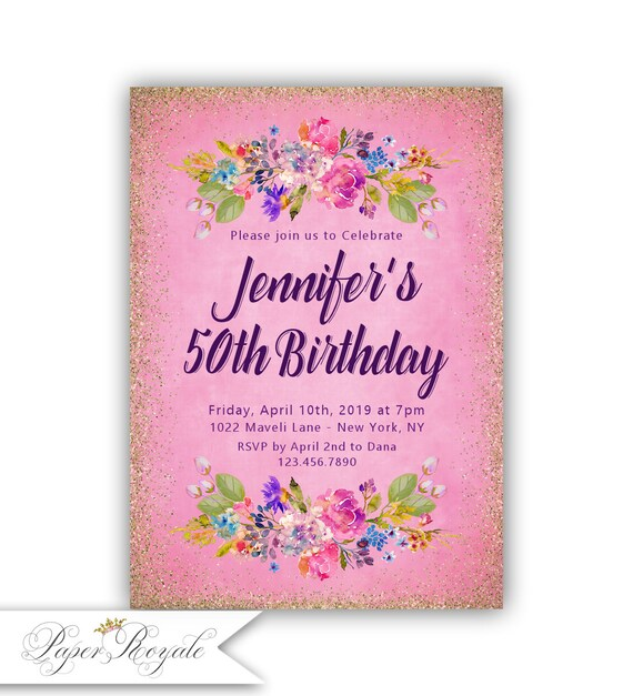 50th Birthday Party Invitations Adult Womens