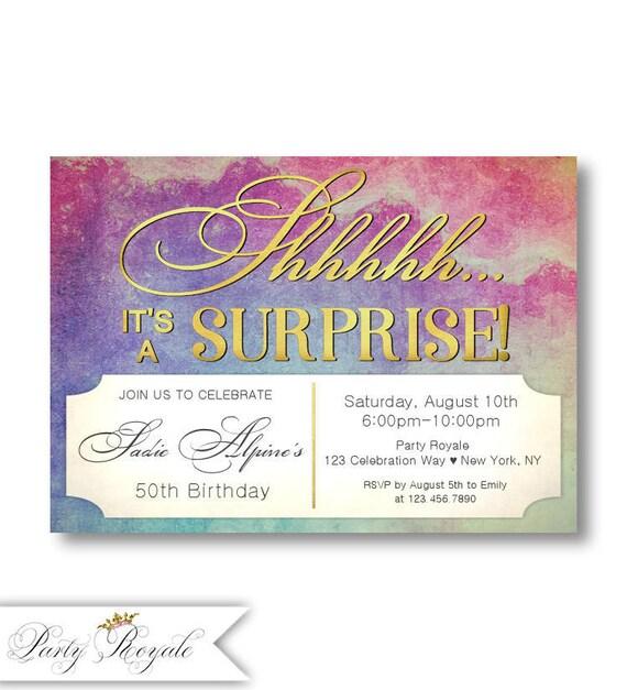 50th surprise birthday invitation for women surprise birthday etsy