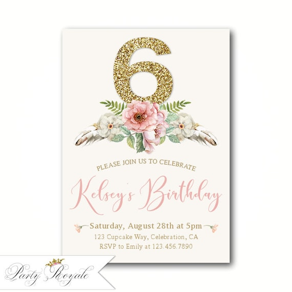 Printable Or Printed 6th Birthday Invitations For Girls