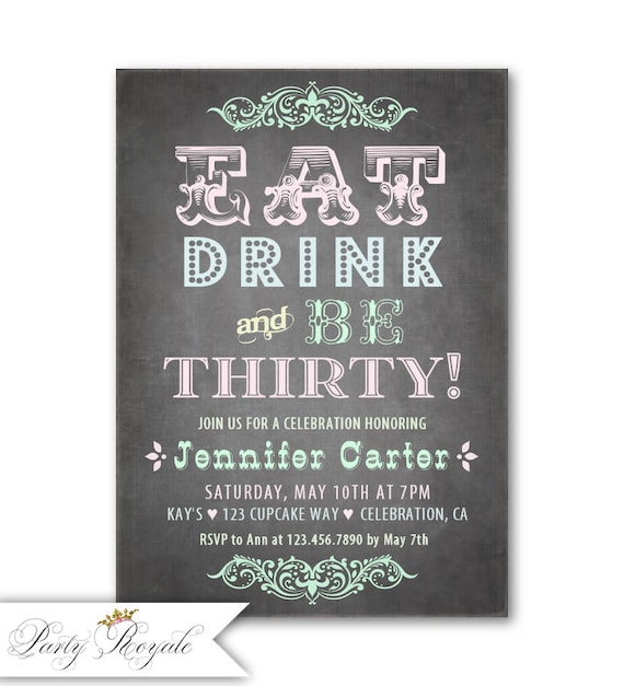 Pastel 30th Birthday Invitation Chalkboard