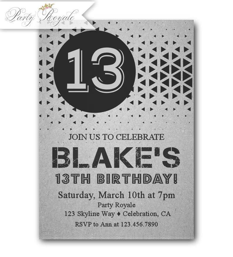13th Birthday Invitation Boy