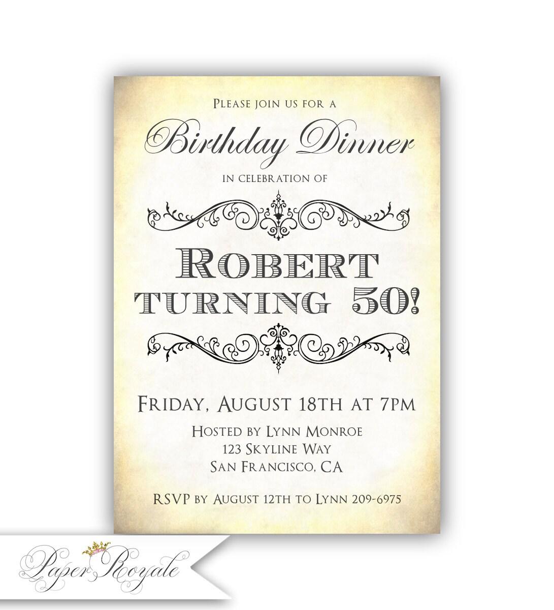 Adult Birthday Invitations Birthday Dinner Invitations 50th