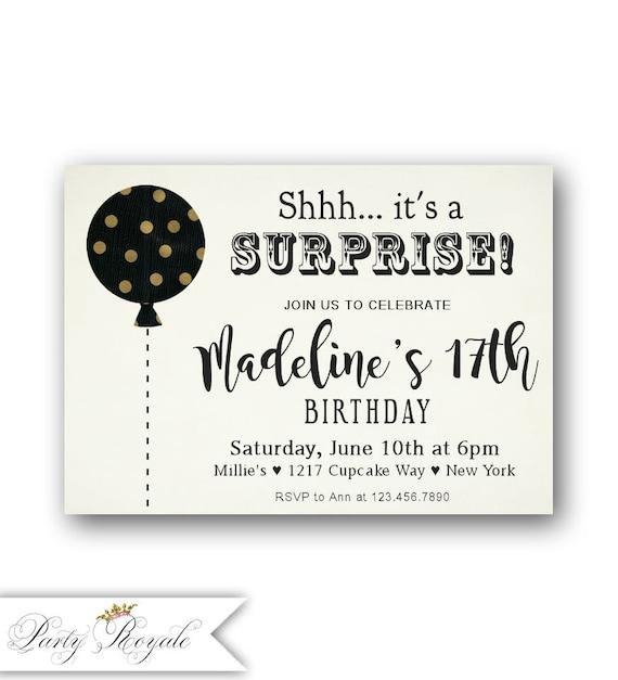 Sorpresa Cumpleaños Invitaciones 17 Años De Muchacha Adolescente 16 Cumpleaños Cumpleaños De 15 Cumpleaños 14 Cumpleaños 13 Cualquier Edad