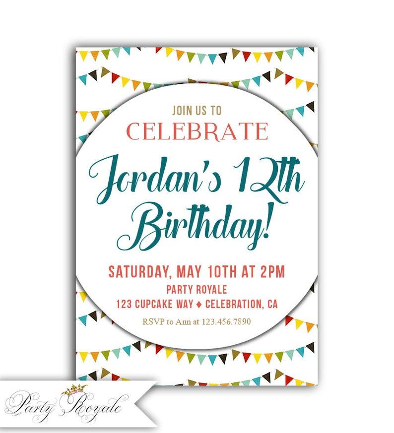 12 Geburtstag Einladung Madchen 12 Geburtstag Ladt Bunten Etsy