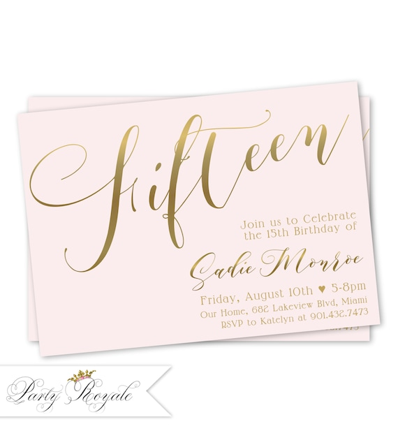 15th Birthday Invitation Quinceanera Sweet 15 Party