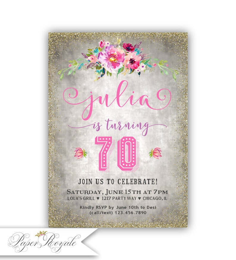 Chalkboard 70th Birthday Party Invitation Colorful Flowers