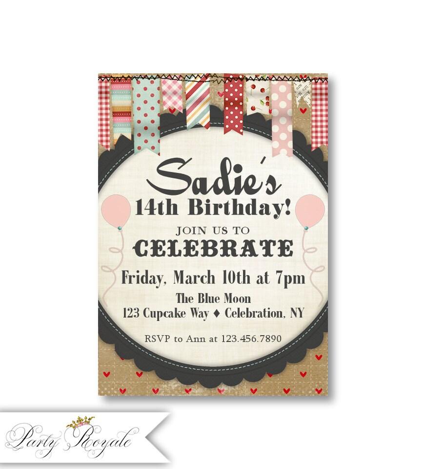 Teen Girls Birthday Party Invitations / 13th 14th 15th | Etsy