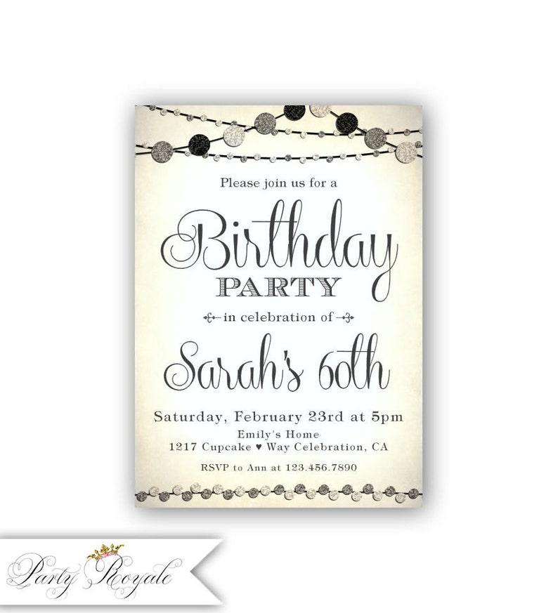 Adult Birthday Invite Printable Invitation