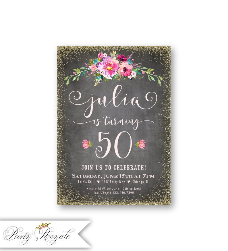 50th Birthday Invitations For Her Women S 50th Birthday Etsy