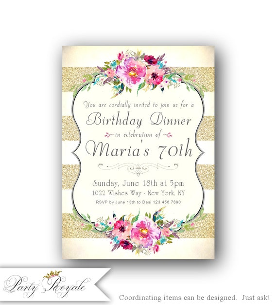 Adult Birthday Invitation 70th For Her