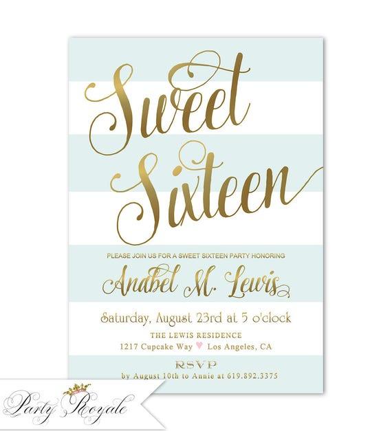 16th Birthday Invitation Sweet 16 Party Invite