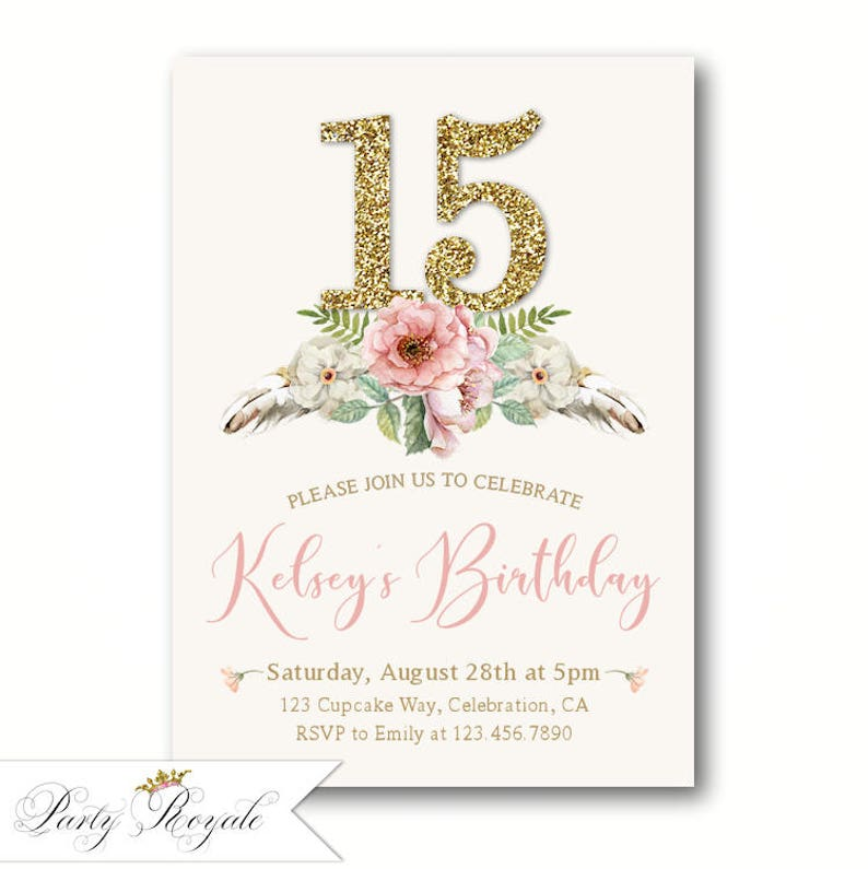 Boho 15th Birthday Invitations For Girls Teen Party