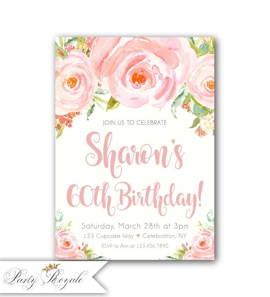 Elegant Birthday Invitations For Women 60Th Birthday  Etsy-4516