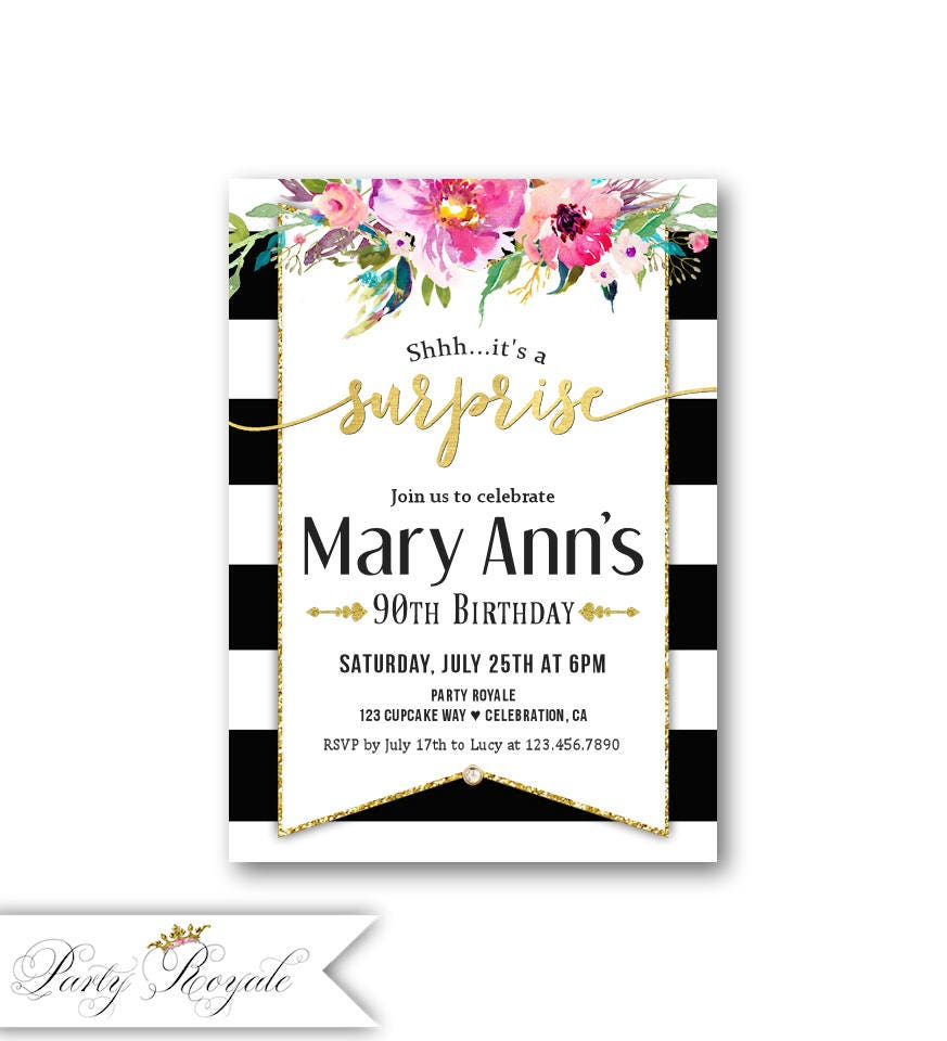 Women\'s 90th Surprise Birthday Party Invitations ANY AGE   Etsy