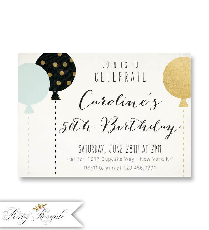 Adult Birthday Invitations 50th Party Balloons