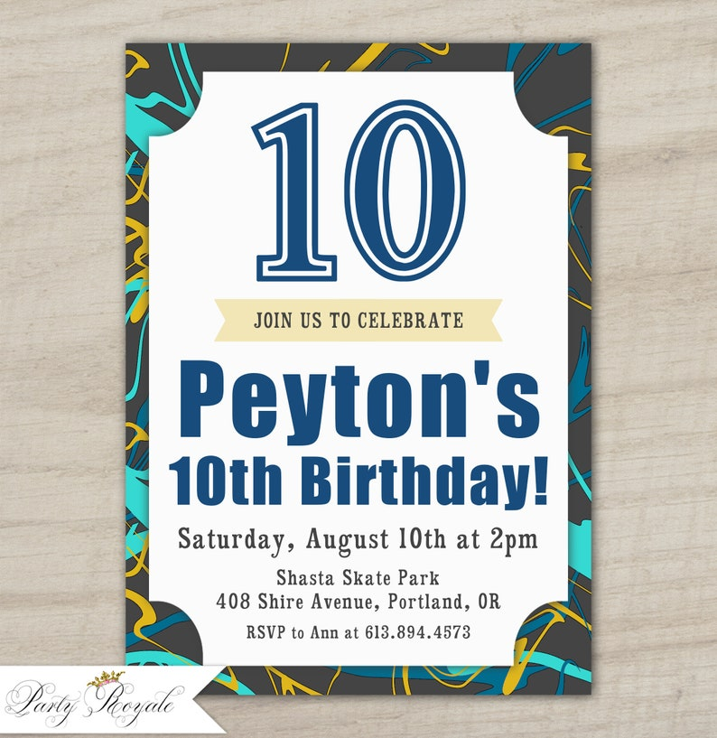 Boys 10th Birthday Invitation 11th 12th