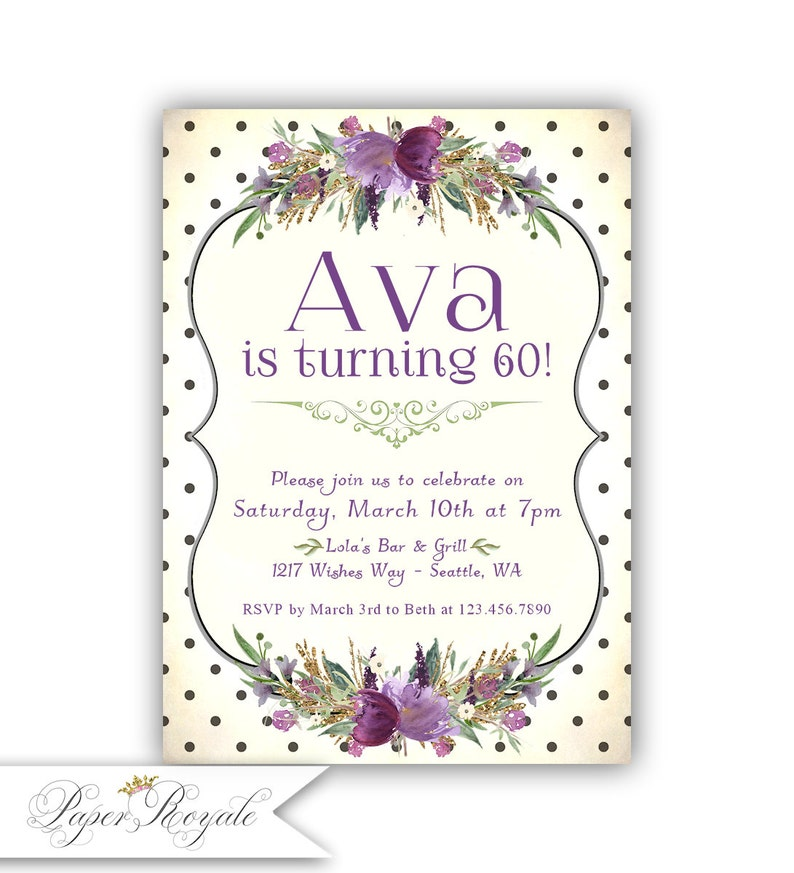 60th Birthday Invitations For Women Dinner Party