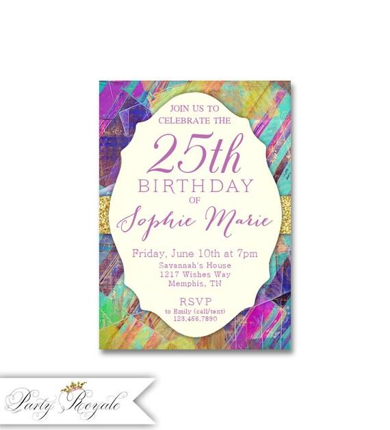 Artsy Birthday Invitations For Women 25th Birthday Party Etsy