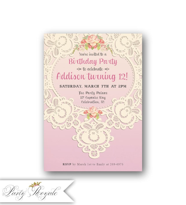 Lace 12th birthday invitations for girls teen birthday etsy image 0 filmwisefo