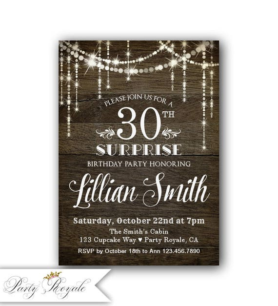 30th Surprise Birthday Invitation Party