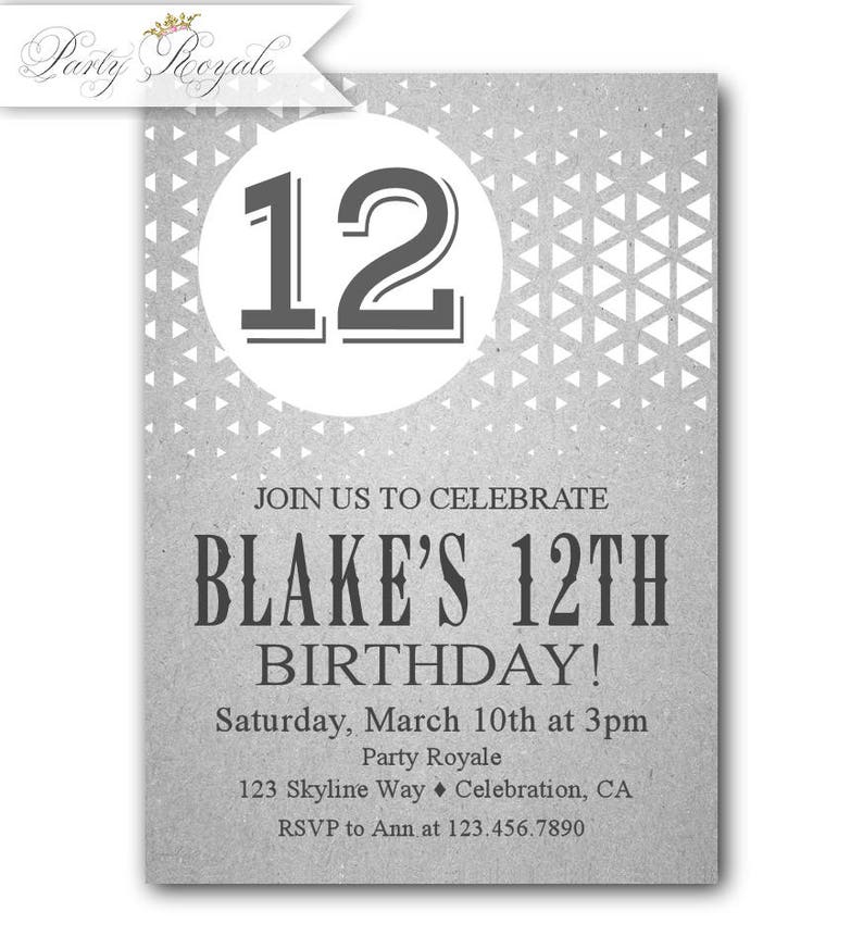 12th Birthday Invitations Boy Party