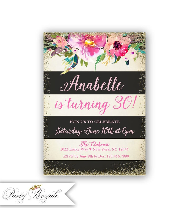 30th Birthday Invite Printable Adult Invitation