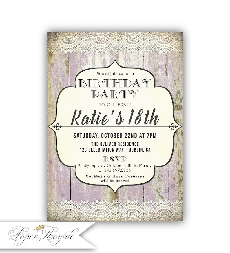 18th Birthday Party Invitations For A Girl Teen