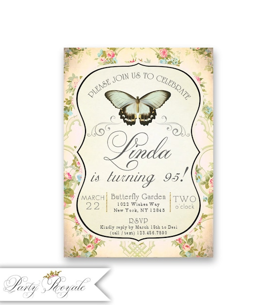 95th Birthday Invitations For Women Garden Theme Butterfly