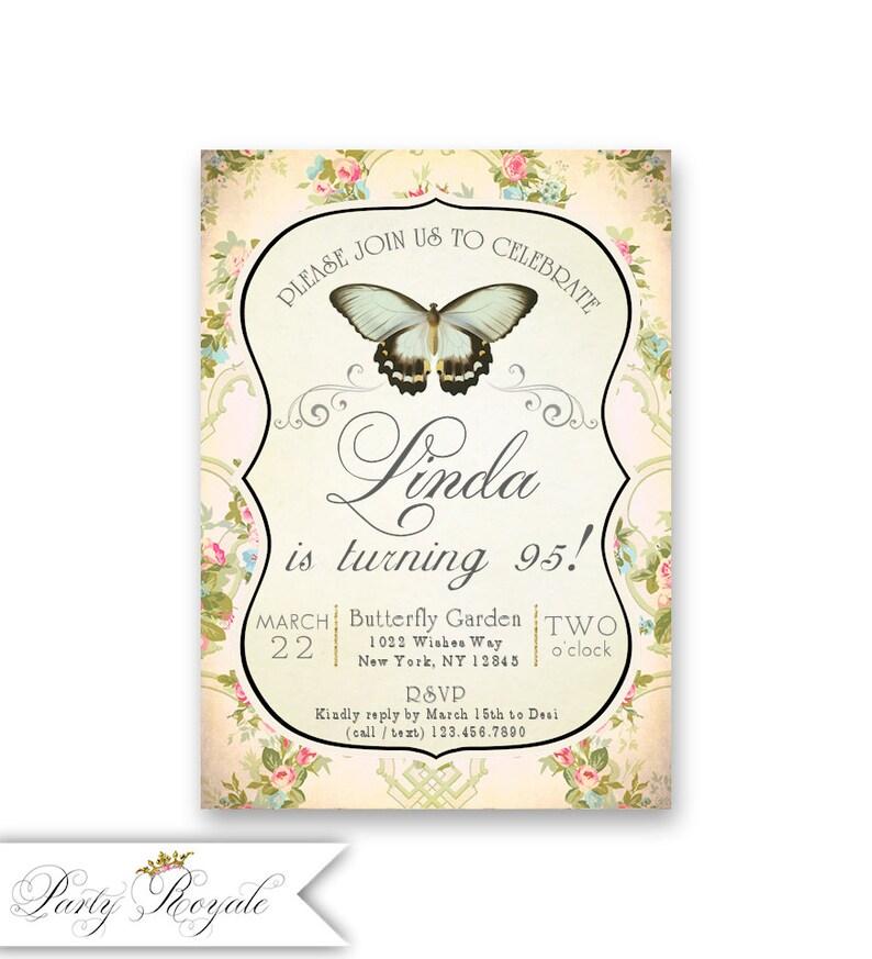 95th Birthday Invitations For Women Garden Theme Butterfly