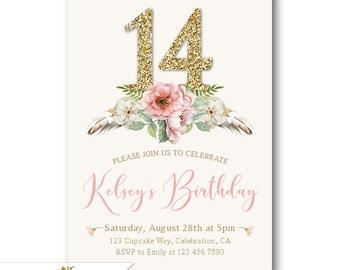 Chic Girls 11th Birthday Party Invitations Boho Theme