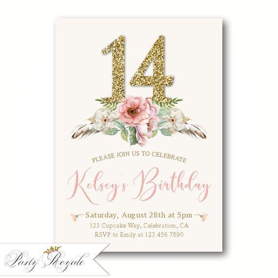 Elegant 14th birthday invitations teen girls birthday etsy image 0 filmwisefo